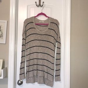 A&F oatmeal + navy striped sweater